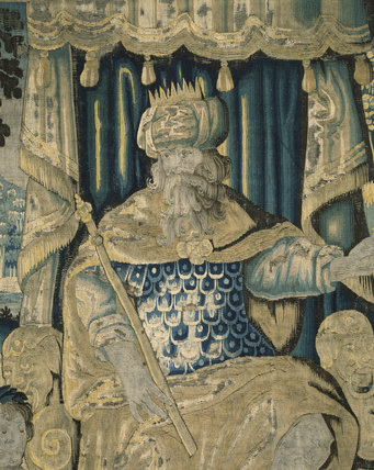 Detail of a 17th century tapestry in the Entrance Chamber at East Riddlesden Hall; the section shows a bearded figure with a staff