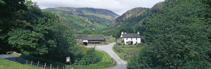 A panoramic view of Yew Tree Farm, Coniston, Lake District, Cumbria