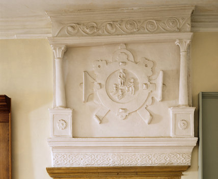 Barrington Court - Detail of the strapwork overmantel in the Solomon Room