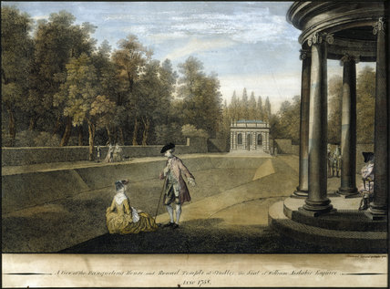 One of four views of the water garden at Studley Royal, Yorkshire, by A. Walker after Balthazar Nebot (fl. 1730-62), coloured mezzotints, 1758