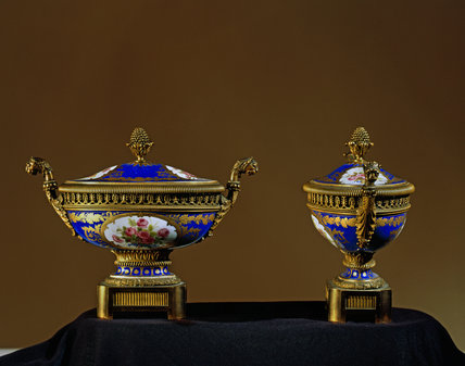 19th century oval potpourri urns and covers copying Sevres bleu du roi from Mount Stewart