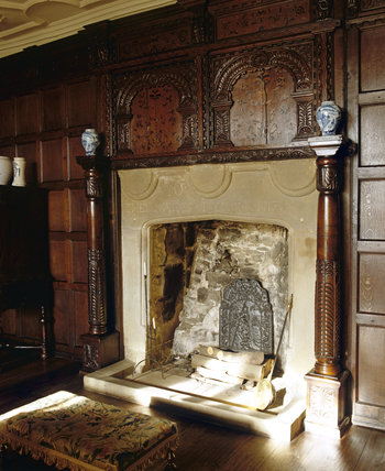 The Drawing Room fireplace at East Riddlesden Hall, West Yorkshire