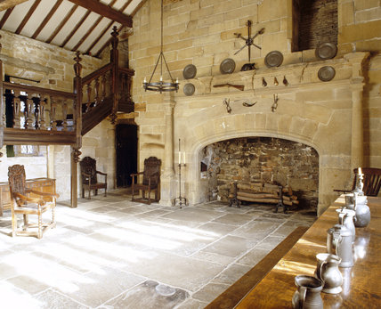 The Hall showing the fireplace and part of the staircase at East Riddlesden Hall, West Yorkshire