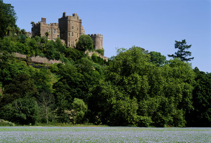 A long distance shot of Dunster Castle viewed from the south