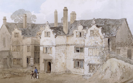 Painting at Trerice - an eighteenth century watercolour of The East Front of Trerice, in the Gallery