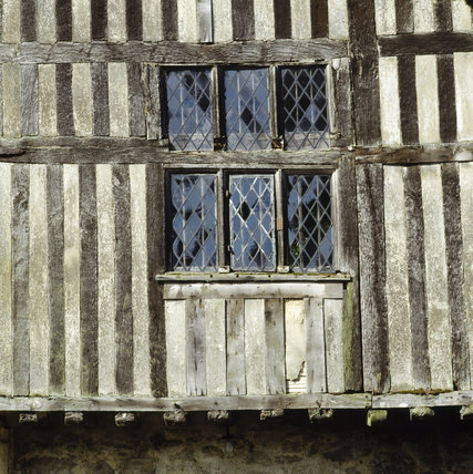 Window and half-timbering on the south facade at Ightham Mote