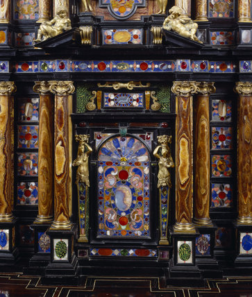 The interior of the Pope's Cabinet at Stourhead, inlaid with gems
