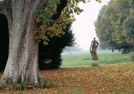 View from the main lawn at Hinton Ampner looking towards a statue representing Venus