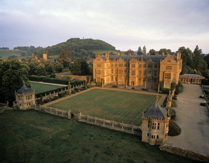 Aerial view of Montacute House in Somerset