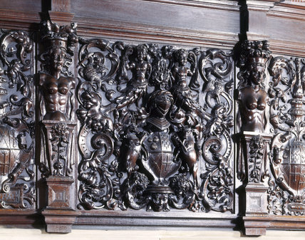 The carved wooden overmantel (1564) in the Dining Room at Sizergh Castle