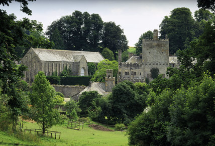 A panoramic view of Buckland Abbey seen from the north