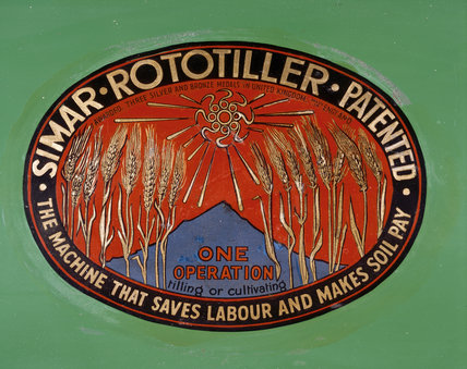 An oval label on a Simar Rototiller lawn mower from the Lawn Mower Museum at Trerice