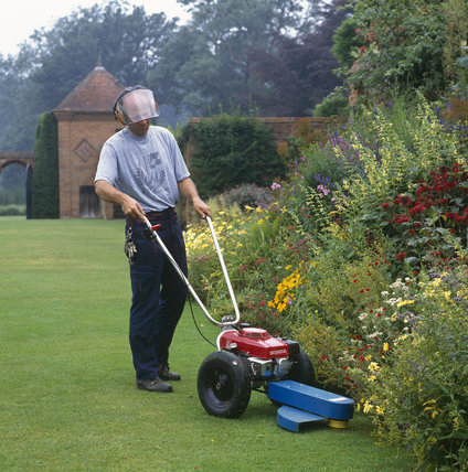 Head Gardener working with a strimmer by a herbaceous border in the gardens at Packwood. MODEL RELEASED