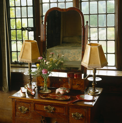 Close-up of the dressing table in Queen Mary's Room at Packwood House