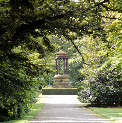 The Broad Walk at Tatton Garden looking towards the Choragic Monument of Lysicrates (by William Cole of Chester, a pupil of Thomas Harrison)