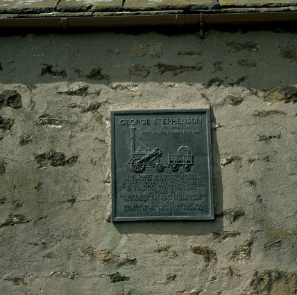 Close-up of plaque at George Stephenson's birthplace, Wylam, Northumberland