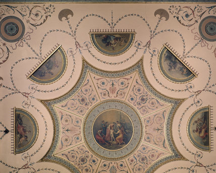 Tapestry room detail of the ceiling designed by Robert Adam and executed by Zucchi
