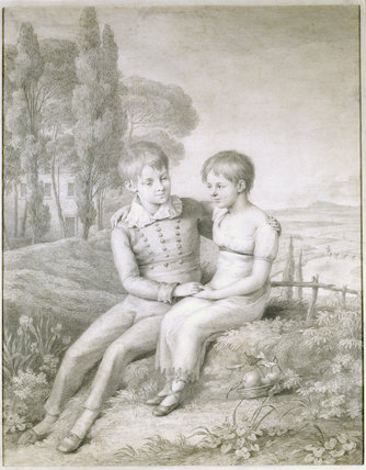 LORD ARTHUR AND LADY SOPHIA HERVEY, monochrome drawing by Frederick Rehberg, post-conservation at Ickworth
