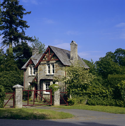 The Station Lodge on a bright sunny day at Lanhydrock