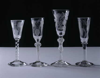 Part of the collection of C18th. drinking glasses displayed in the Dining Room