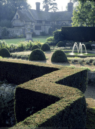 View of the garden at Ightham Mote in November