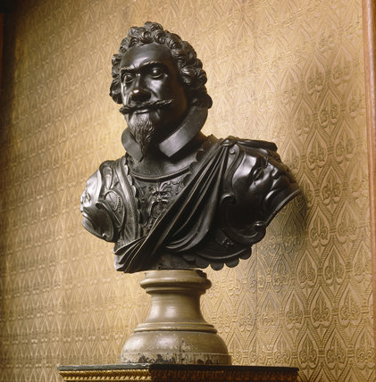 Close-up of bust of Lord Herbert of Chirbury by Hubert Le Sueur (c.1585-1600) dated 1631
