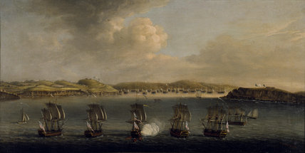 NAVAL ACTION by Dominic Serres, signed 1763