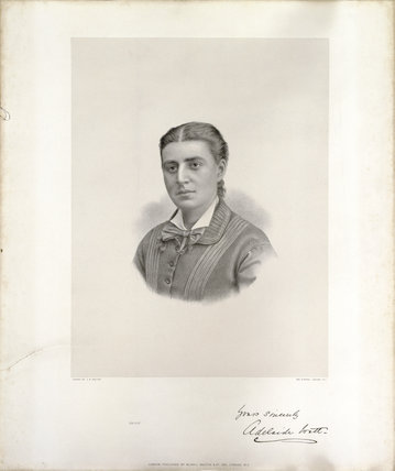 A lithograph of Adelaide Watt (1857-1921) to represent her coming of age in 1878