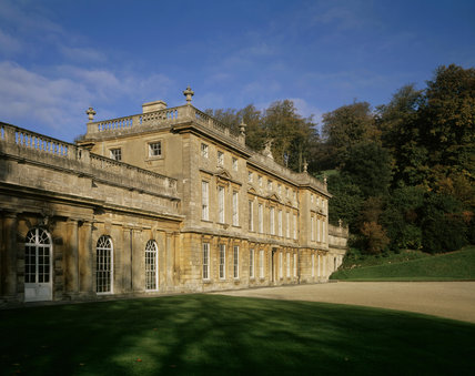 The East Front of Dyrham Park is bathed in sunlight on a beautiful Autumn's day