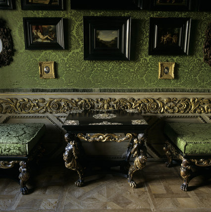 Archive image, this room was rehung in 1996 and this image is no longer current: A close up of the silver-mounted ebony table, c 1670