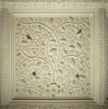 The ornate plasterwork ceiling found in the The Great Parlour (now known as the Oak Drawing Room)