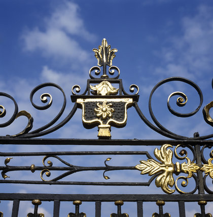 A detailed close up of the wrought iron screen at Erddig