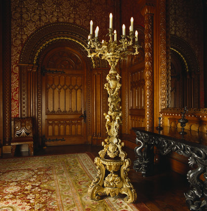 The Tall gilt-bronze Candelabra is traditionally said to be based on a original by the sixteenth-century Italian goldsmith Benvenuto Cellini