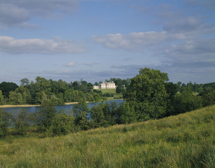 The south facade of Castle Coole seen from across Lough Coole