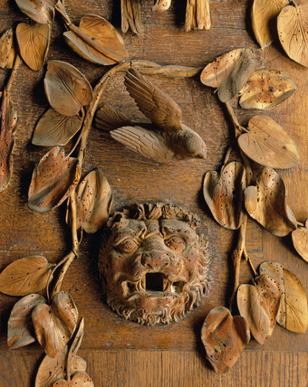 Detail of Grinling Gibbons carving at Petworth House showing the damage that woodworm has caused