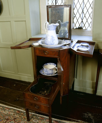 The commode in the Green Chamber at East Riddlesden Hall, West Yorkshire