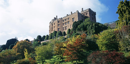 An exterior of Powis Castle showing the terrace gardens and bank below, with autumn colour from acers and cotinus species
