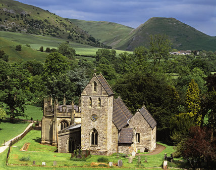 Thorpe Cloud and the Church, Ilam Park, Derbyshire