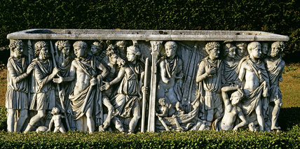 The Theseus Sarcophagus representing scenes from the story of Theseus and Ariadne, at Cliveden