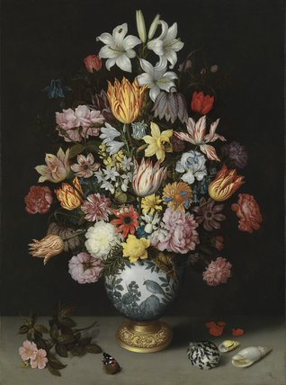 Print Of A Still Life Of Flowers In A Wan Li Vase By Ambrosius