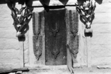 Doorway decorated with markhor horns
