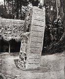 Stone carving (Stela A) at Maya site of Quirigua, Guatemala
