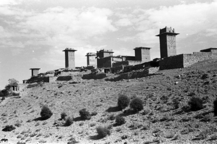 Buildings with towers at a settlement