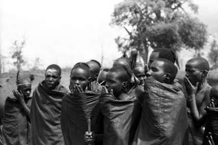 Samburu initiates chanting the lebarta
