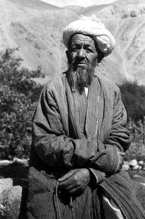 Tajik man holding prayer beads