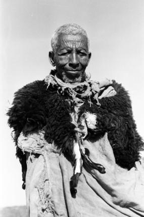 Amhara man wearing an animal skin