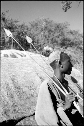 Turkana man with spears