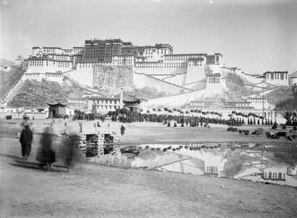 Potala with silk banners during Sertreng procession