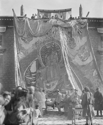 Embroidered banner of Buddha on Kungtang monastery