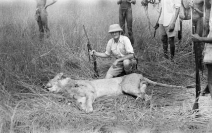George Coryton with lion